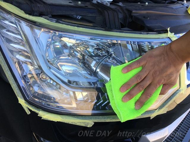 【デリカD5】ヘッドライトの曇りが簡単に取れるクリーナー&コーティング剤と使い方を説明するよ