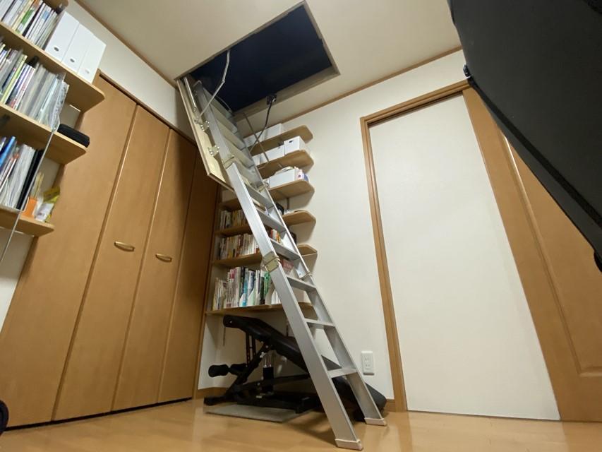 屋根裏収納DIY② 天井収納はしご(大建スライドタラップ)を一人で取付ける方法